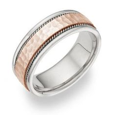 White Gold and Rose Gold Hammered Wedding Band Ring - 14K Wedding Ring Finger REVIEW