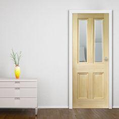 Barnsbury Pine Door with Bevelled Clear Safety Glass. #glazedpinedoor #pinedoor #mendespinedoor
