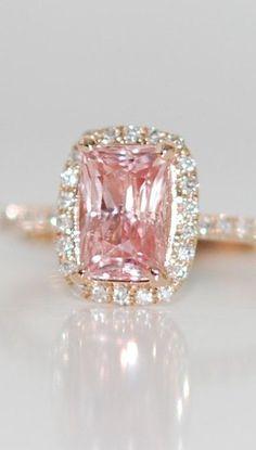 Rose gold ring engagement ring. Peach sapphire 1.63ct cushion sapphire diamond ring.