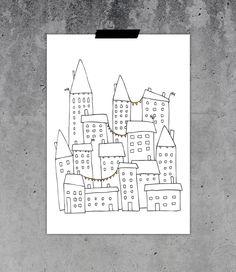 Vimpelstaden - Nordic Design Collective Nordic Design, Scandinavian Design, Buy Posters Online, Chalk Design, Unique Poster, Doodle Drawings, Home Art, How To Draw Hands, Art Houses