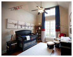 LOVE this red and blue vintage airplane nursery! Very fitting since daddy is a pilot! :)