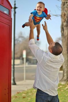 My sons first birthday picture with daddy! #superman