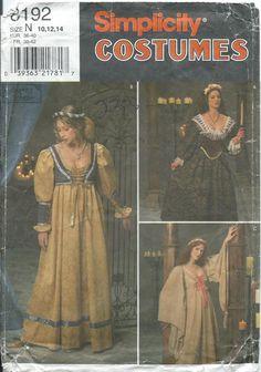 Simplicity renaissance dress sewing pattern 8192 various styles S10 14 $7.99