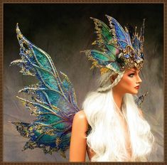 Adult Fairy Wings and CrownIridescent Adult Fairy Wings, Cabaret, Skirt Hangers, Wings Design, Midsummer Nights Dream, Fairy Dress, Lavender Blue, Teal And Gold, Masquerade