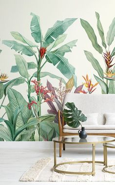 Welcome fresh tropicals into your space full of stylish tone and detail with this tropical oasis wallpaper. Tropical Wallpaper, Green Wallpaper, Illustration Botanique, Estilo Tropical, Plant Painting, Minimalist Wallpaper, Tropical Decor, Tropical Interior, Plant Wall