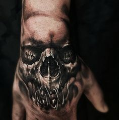 Skull tattoo on hand