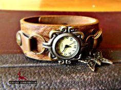 PARADIES GARTEN - Armbanduhr retro Damenuhr braun von Schloss Klunkerstein - watches, handmade unique jewelry with nature elements, lockets, steampunk, shabby & vintage artefacts and art for you auf DaWanda.com
