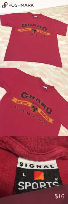 Grand Canyon Vintage Beauty/Travel /National Parks Cleaned up with some light wear . Nice Grand Canyon redish tee with great front logo . Tag is on vintage Signal Brand (90's) Reads large but calling a safe medium. For the vintage t shirt traveler 😍🤘 Vintage Tops Tees - Short Sleeve