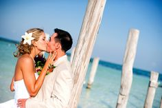 Beach wedding photos in the Riviera Maya, Mexico.
