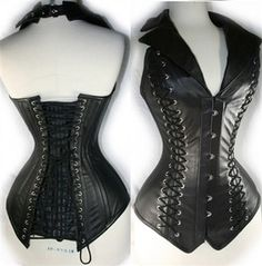 MUST HAVE! Black Halterneck Leather Corset With Elegent Lacing