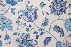 25% to 75% Off! :: 50% Off Fabrics :: Robert Allen Spring Mix Printed Linen Blend Drapery Fabric in Ultramarine $16.95 per yard - Fabric Guru.com: Fabric, Discount Fabric, Upholstery Fabric, Drapery Fabric, Fabric Remnants, wholesale fabric, fabrics, fabricguru, fabricguru.com, Waverly, P. Kaufmann, Schumacher, Robert Allen, Bloomcraft, Laura Ashley, Kravet, Greeff