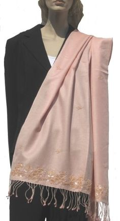 SCARF (BEADED/SEQUIN SHAWL) BY CASHMERE PASHMINA GROUP (BABY PINK) 016