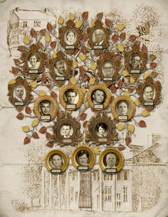 Family Tree Print - Couple with their Children, Parents and Grandparents with Building Sketches