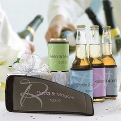 These Wedding Day Can  Bottle Wraps ... aka Beer Koozies ... are a great Wedding Favor or Bridal Party Gift Idea! The design is elegant and you can personalize it with one of 7 text and background colors so it matches your Wedding Theme! #Wedding #WeddingFavor #BridalPartyGift #PMall.com everything-wedding