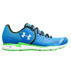 Under Armour® Micro G® Mantis Running Shoe #VonMaur #UnderArmour #Blue #BrightGreen #Mens