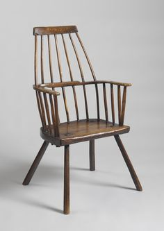 "Prmitive Stylised 'Lobster Pot' Windsor Armchair -  Of Elegant Graphic Form - Solid Ash and Elm with Original 'Nutty' Surface - English, c.1780. 40.50"" high x 21.00"" wide x 13.75"" deep  - Robert Young Antiques"