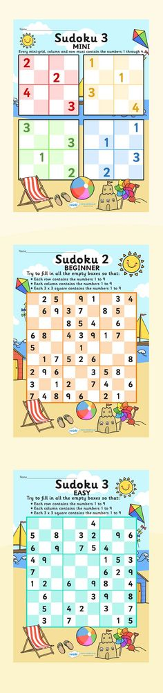 Sudoku for kiddies Puzzle Games For Kids, Puzzles For Kids, Worksheets For Kids, Japan For Kids, Sudoku Puzzles, Crossword Puzzles, Mathematics Games, Critical Thinking Activities, Math Sheets