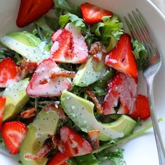 Strawberry Avocado Kale Salad with Bacon Poppyseed Dressing Recipe Salads with baby kale, strawberries, avocado, bacon, mayonnaise, sugar, white vinegar, poppy seeds, salt, pepper