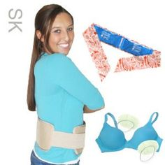 "Secrets Kit containing a ""vest,"" a cooling scarf, and bra coolers in colorful prints!"