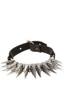 Emanuele Bicocchi - Spiked Silver & Leather Bracelet | FashionJug.com