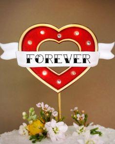 Crankbunny Forever & Heart Marquee Light Cake Topper