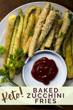 These healthy baked zucchini fries are made with only 5 ingredients and crispy everytime! Low in carbs so they are keto friendly and a great side dish for those managing their blood sugar.