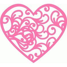 Silhouette Design Store - View Design #72424: flourish swirl heart
