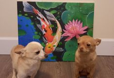 Butterz and Minka pose alongside one of my earlier attempts at painting from art class Minka, Pup, Poses, Painting, Figure Poses, Dog Baby, Painting Art, Puppies, Paintings