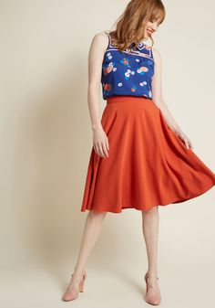 c38100d3323 Just This Sway A-Line Skirt in Orange
