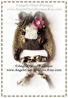 Crochet PONY - HORSE Cute Crochet Earflap Hat with Flower - Prop Photography - Boy or Girl Sizes Newborn to Preteen by AngelsChest