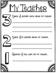 3-2-1 About My Teacher- Back to school printables for grades 3 and up!