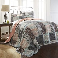 100 Cotton 3 piece printed reversible quilt sets Sylvia King -- Learn more by visiting the image link.