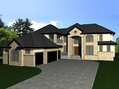 * Plan W81624AB: Spacious European Home Plan | 2-way fireplace between great room & dining room, 3-way off of kitchen.  Mud room has walk-in closet; separate laundry room.  Large walk-through pantry.  3 bedrooms & 3 bathrooms upstairs plus sitting area (study nook?), bonus room & a covered balcony.