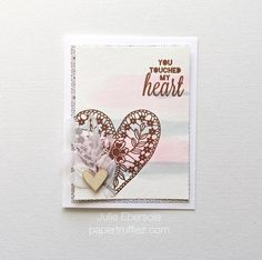Oh boy! Talk about stunning! Love the copper embossing Julie Ebersole did to the heart and words (from the Heartfelt Thanks stamp set from TechniqueTuesday.com). So, so pretty!