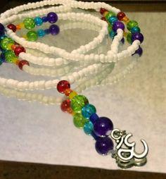 7 chakras ohm rainbow white waist beads waistbeads https://www.etsy.com/listing/206449575/7-chakras-ohm-rainbow-african-waist