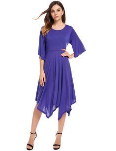 Purple O-Neck Flare Short Sleeve Irregular Hem Loose Casual Dress
