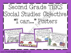 Second Grade Social Studies TEKS Posters product from Stickers-and-Staples on TeachersNotebook.com