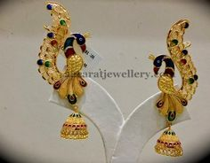 Sell Gold Jewelry Near Me Refferal: 6795850775 Gold Jhumka Earrings, Indian Jewelry Earrings, Real Gold Jewelry, Jewelry Design Earrings, Gold Earrings Designs, Cuff Jewelry, Peacock Earrings, Jewlery, Gold Necklace