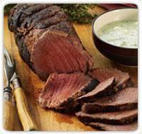 Herb Marinated Tenderloin Of Beef With Gorgonzola Yogurt Sauce