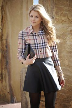 PolishedandPink: collared shirt, flare skirt, tights, booties.