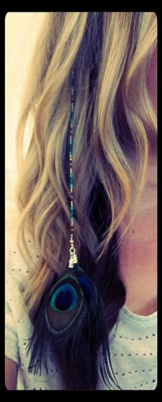 Mermaid Peacock Beaded Hair Extension. $15.00, via Etsy.