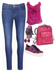 """Untitled #54"" by angelasierras on Polyvore featuring Kenzo, Levi's, Alex + Alex, Dasein, Michael Kors and Bayco"