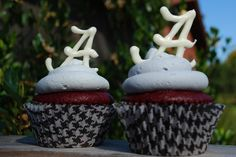 "Houndstooth cucpake liners, red velvet cupcakes, white chocolate ""A""s ... the liners are the hardest part!"
