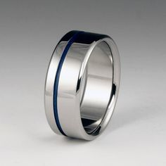 Unique Wedding Band Titanium and Blue Stripe