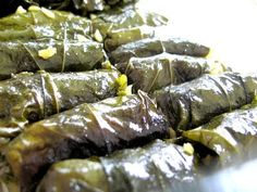 Dolmades (grape leaves stuffed with meat) is one of the first thing that comes to mind, when I think of Greek food. These grape leaves are generally vegetarian, but you can add ground beef for special occasions.