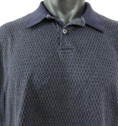 Polo Ralph Lauren Mens XL Pima Polo Shirt Geometric Pattern Blue Textured SS VGC #PoloRalphLauren #PoloRugby