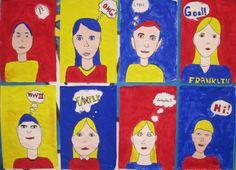 art in primary colors   Art Explorium: Roy Lichtenstein Inspired Self-portraits