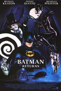 Batman Returns starring Michael Keaton, Danny DeVito and Michelle Pfeiffer Batman Poster, Batman Film, Poster S, Gotham Batman, Batman Art, Batman Robin, Michael Keaton, Keaton Batman, Michelle Pfeiffer