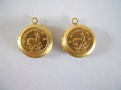 Pair Vintage Tiny Locket Krugerrand Coin Charm