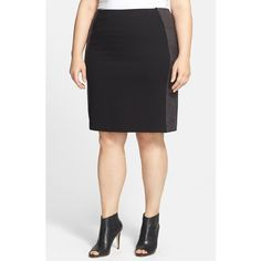 Plus Size Women's Lysse 'Minetta' Faux Leather & Ponte Pencil Skirt (5.990 RUB) ❤ liked on Polyvore featuring plus size fashion, plus size clothing, plus size skirts, black, plus size, womens plus size skirts, ponte knit pencil skirt, black faux leather skirt, stretchy pencil skirt and plus size pencil skirt